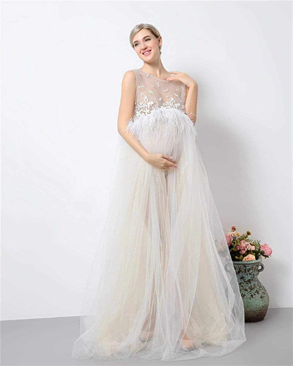 6b45b9aaf3ac1 Get Quotations · DVOTINST Photography Props Maternity Dresses for Photo  Shoot, Elegant and Soft Pregnancy Dress Pregnant White