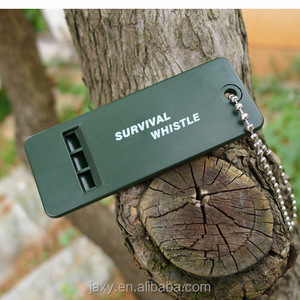 3-Hole Bar Designed Plastic Outdoor Survival Safety Whistle with Metal Keychain(Green)