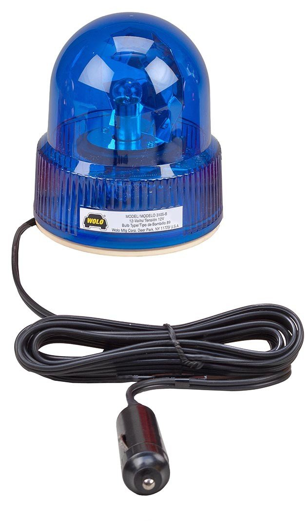 Wolo (3105-B) Beacon Light Rotating Emergency Warning Light - 12 Volt, Blue Lens