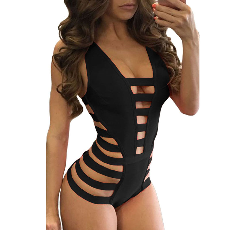 2019 Summer Woman Sexy Beach Swimwear Strappy Cutout One Piece Bathing Suit