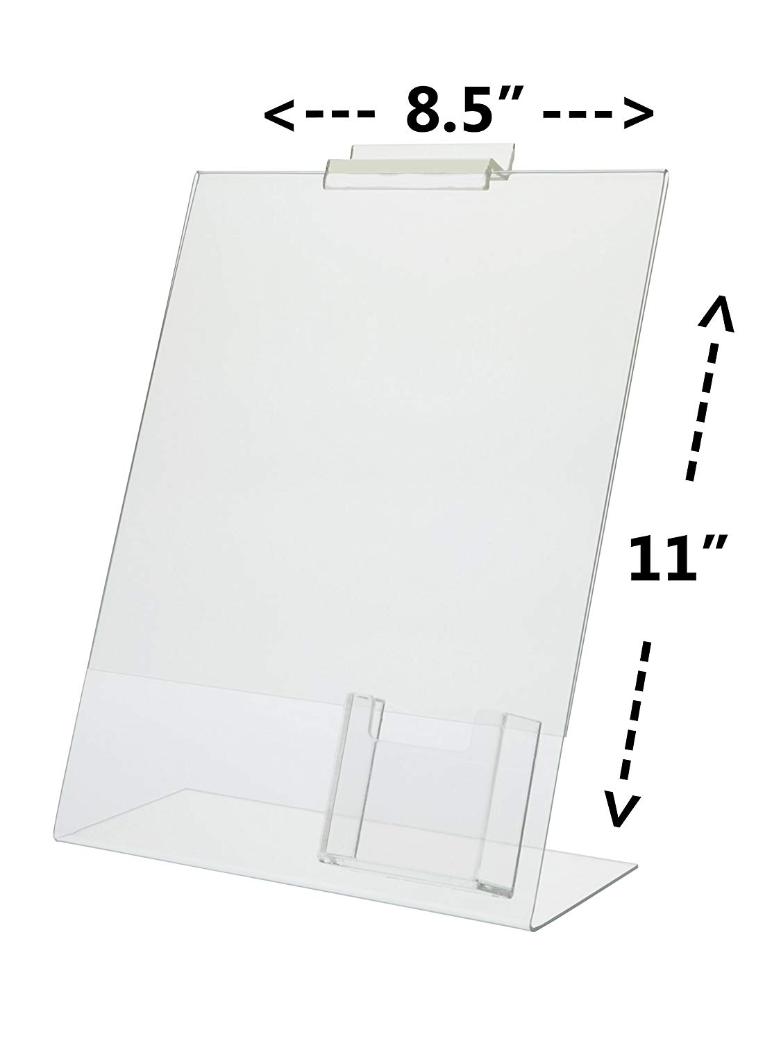 "Marketing Holders Lot of 6 Clear Acrylic 8.5"" x 11"" Slatwall Table Tent with a Vertical Business Card Holder"