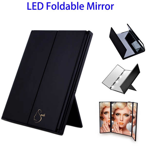 Trifold Travel Foldable Mirror, LED Lighted Makeup Mirror with 8 LED Light