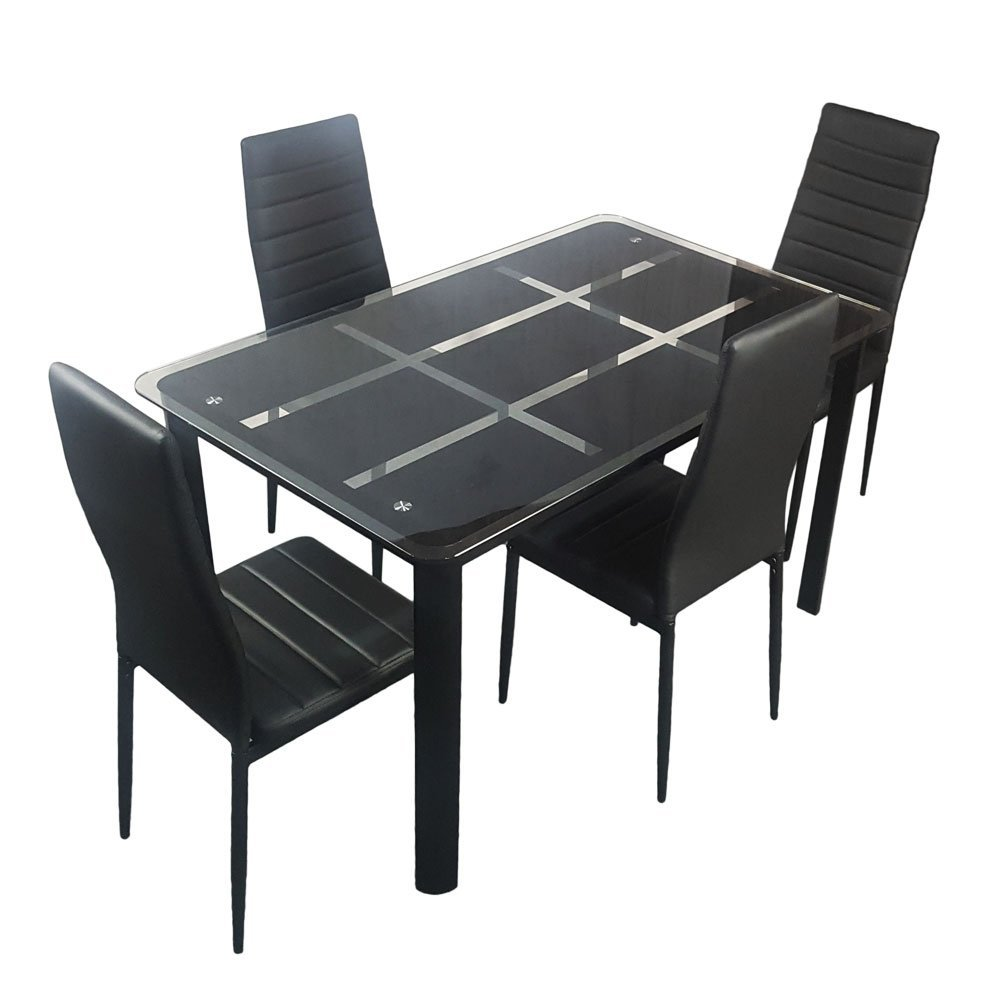 0c56b2442d31b Bonnlo 5 Pieces Dining Table Set for 4 Glass Top Modern Dining Table and  Chair Set