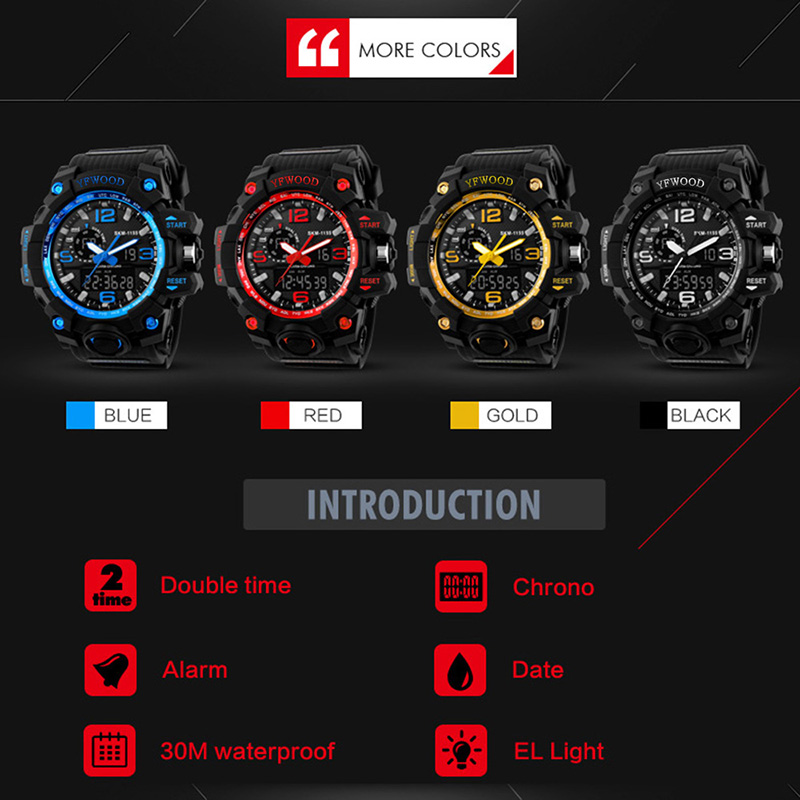 Military Mens Watch Fashion Luminous Wristwatches Custom Logo Quartz LED Digital Sport Watches Men Wrist