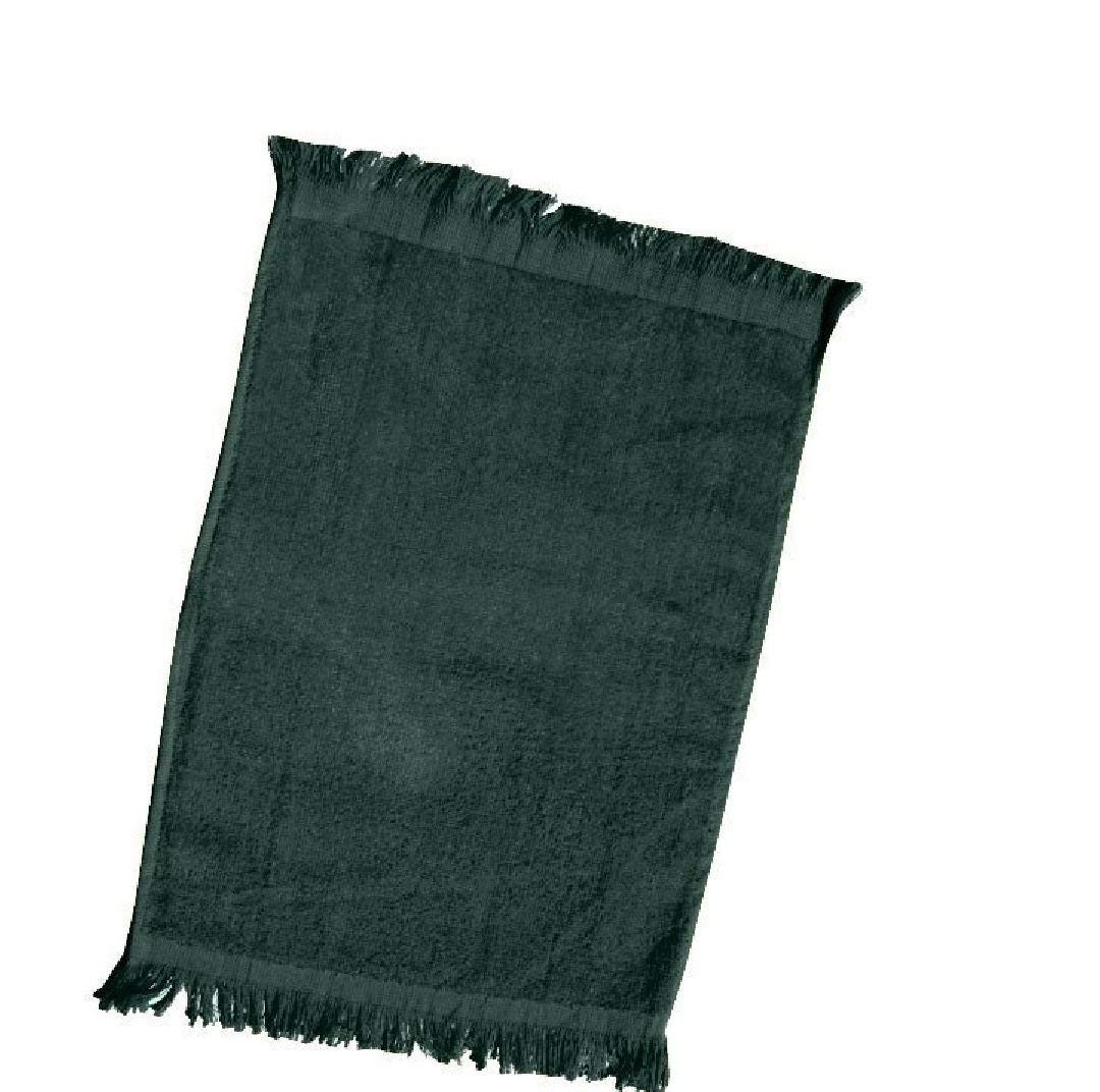 """Wholesale Price Towels, Terry Velour Fingertip Towel Fringed End, Size: 11"""" x 18"""" (3, FOREST GREEN)"""