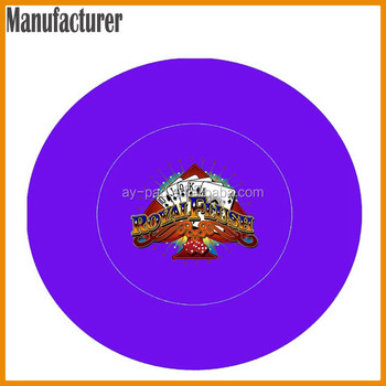 AY Round ROYAL FLUSH Center Table Mats Custom Poker Chip Rubber Poker Table  Mat With SGS