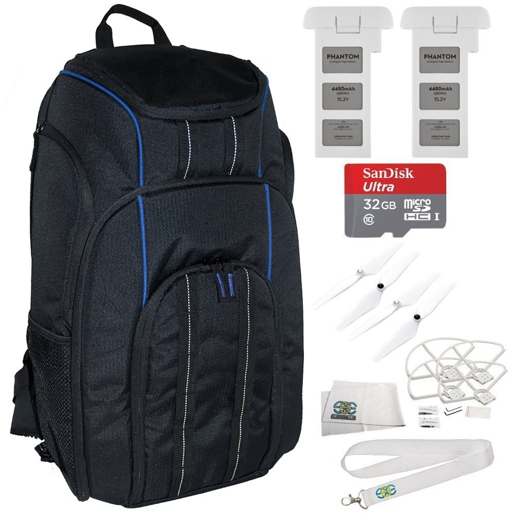 EVERYTHING YOU NEED KIT for DJI Phantom 3 4K Standard Professional & Advanced Includes Manfrotto BP-D1 DJI Professional Video Equipment Cases Drone Backpack + 2 DJI Intelligent Flight Batteries + MORE