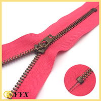 [Leather Bags Zipper] 4# auto Lock Anti Copper Metal Zip, Pink Color