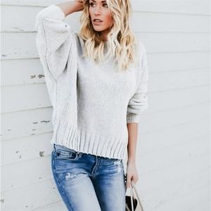 Loose Thin Sweater Women Wave Hem O Neck Long Sleeve Knitting Sweater Female Pullover Knitwear