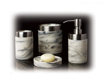 Factory Price Marble Effect White Color Resin Bathroom Accessories Set 4PCS Hotel Bathroom Set