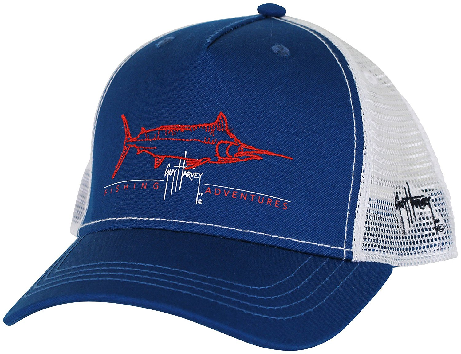 a22141b8f5f Get Quotations · Guy Harvey Tight Line Trucker Hat - Navy Blue - One Size  fits All