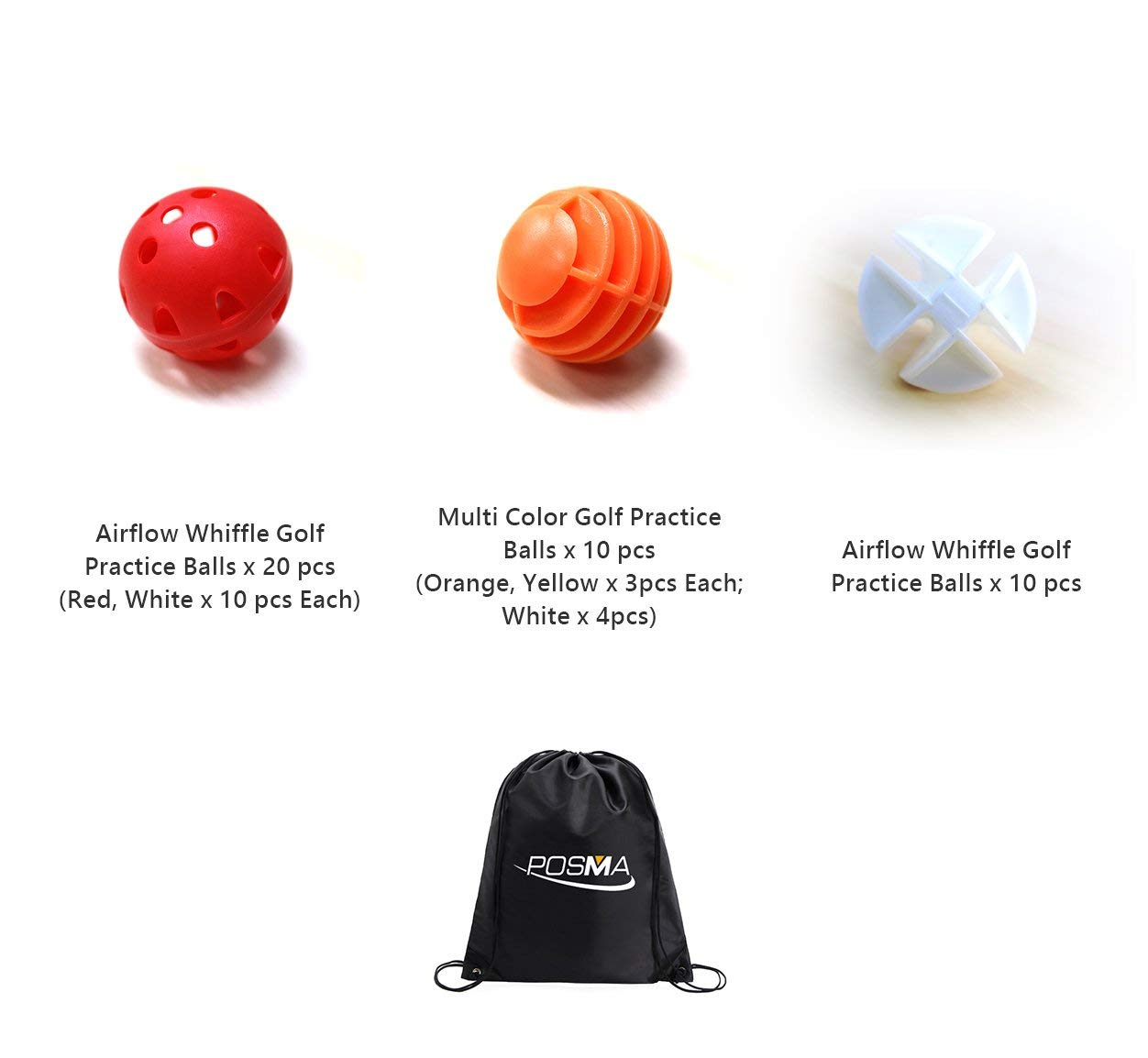 POSMA PB050A Airflow Whiffle Golf Practice Ball Multi Color (Red, White 10pcs Each)+Multi Color Golf Practice Balls+Airflow Whiffle Golf Practice Ball in white Color+Cinch Sack Carry Bag