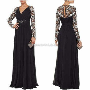 Latest Gown Designs Ladies Party Wear Long Sleeve Chiffon Evening ...