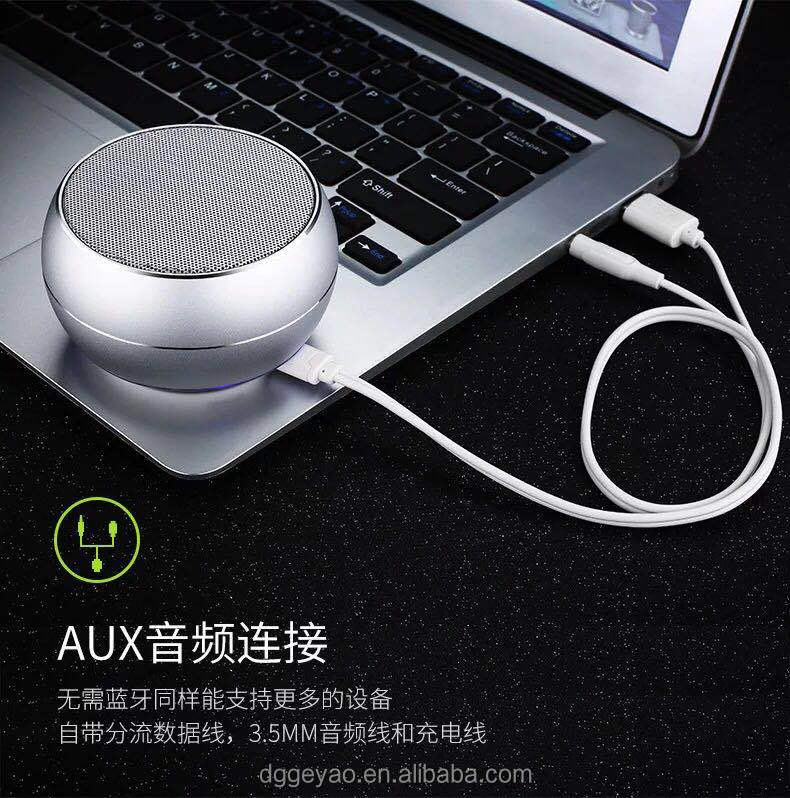 Wireless Portable Led Light Aluminium Alloy Mini A10 Speaker for Christmas Promotion