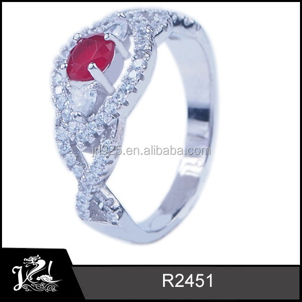fashion ladies single stone ruby value 925 silver ring