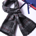 Stylish classic plaid silk and wool blended scarf for men's and women's