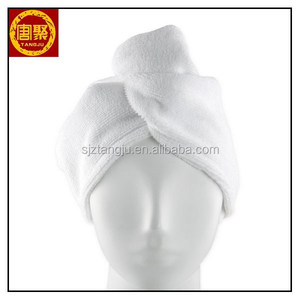 Real Clean White Microfiber Hair Drying Turban Towel Twist Quick Dry Head Wrap Super Absorbent with Button Closure