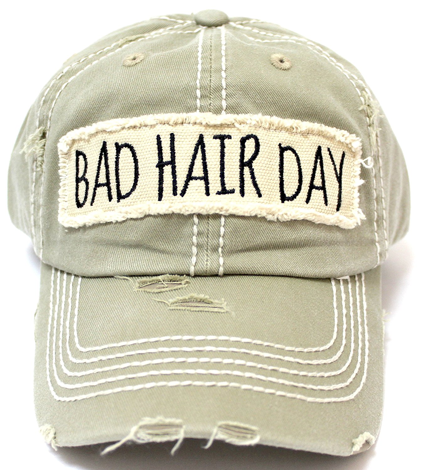 d1f7f4a3a69 Khaki Bad Hair Day Embroidery Patch Baseball Cap