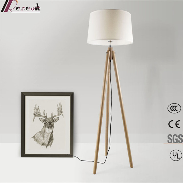 Buy cheap china stand lamp shade products find china stand lamp modern simple white shade tripod standing wood floor lamp for living room aloadofball Choice Image