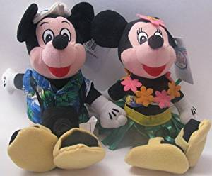 Disney Bean Bag Plush Mickey Mouse and Minnie Mouse Dressed As Tourist