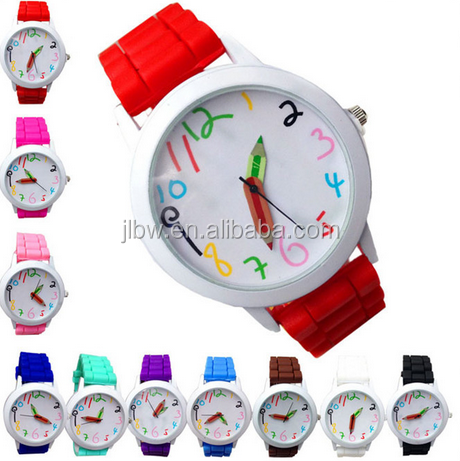 Newly Design Fashion Quartz Unisex children Colorful Number Silicone Jelly Wrist Watch