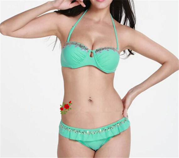 6ae6cb2067 Get Quotations · Swimwear Bikini triangle bikini bandeau Suits Women  Swimsuits Sexy bikiny