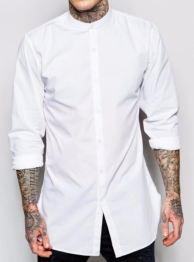 2016 Custom Button Up Shirts Long Sleeves Pure Cotton Mens White ...