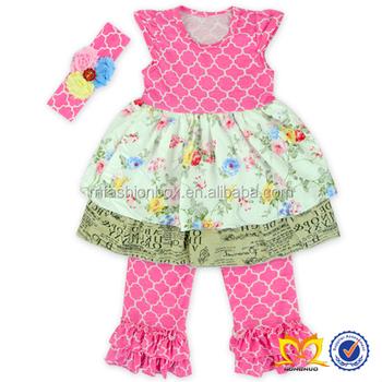 Hot Sale Boutique Spring Toddler Girls Clothing Latest Children