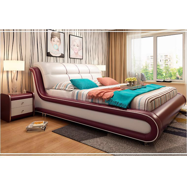 Foshan Wholesale Modern Bedroom Furniture King Size Solid Wood Leather <strong>Bed</strong>