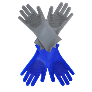 Fancy Waterproof Silicone Rubber Kitchen Dish Washing Sponge Cleaning Gloves