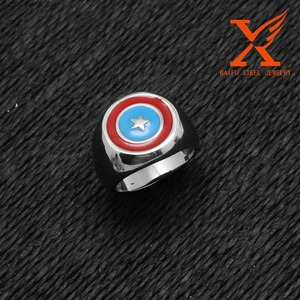 In Stock Cheap Championship Marvel Comics New Stainless Steel Captain America Comic Geek Band Ring for Woman and Men