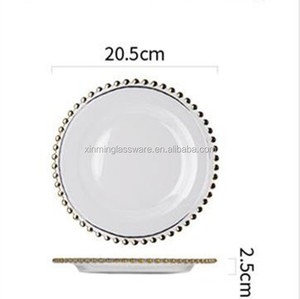Hot Sale Dinnerware Plate With Beaded Gold Rim Round Charger For Wedding