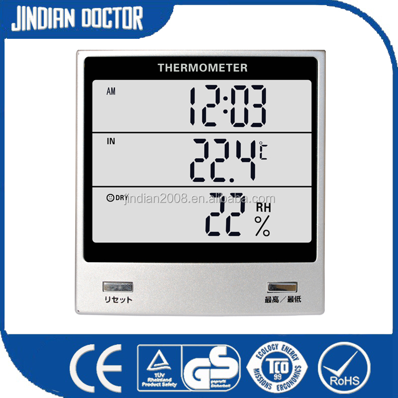 With hygrometer and clock Multifunction digital Thermometer for showing <strong>temperature</strong>,humidity,time with LCD display JW-105