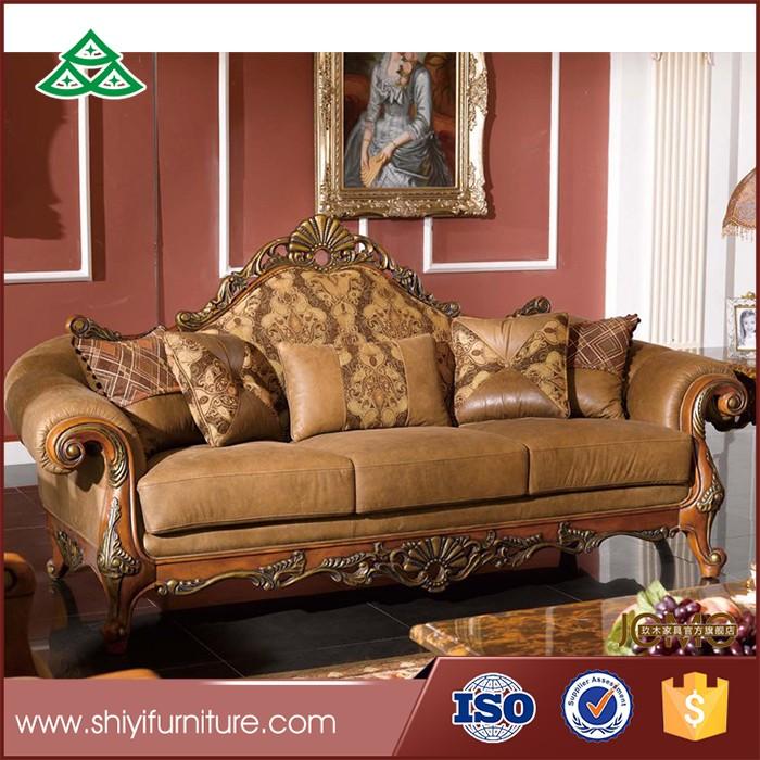 Muebles Sofá De La Sala Set Madera De Lujo Sofá De Cuero Antiguo ...