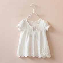 1682027 Retail 2016 Summer Fashion Baby Girl Tops White Solid Lace Toddler Girl Tees Fashion Girl