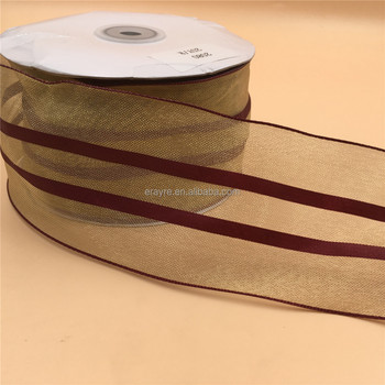 n2080 63mm x 100yards gold and burgundy stripes gift packaging christmas wired ribbon
