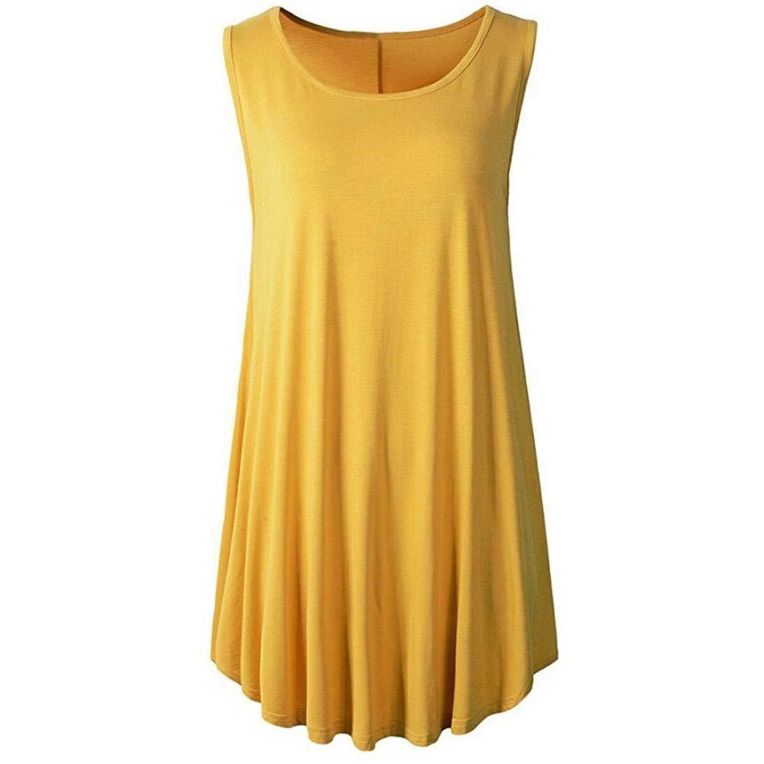 WM & MW Clearance Women Tops Casual Yoga Solid O-Neck Sleeveless Tunic Shirt Swing Vest Tank Top