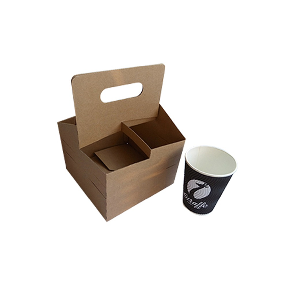 Customized Paper Take Away Drinks Box With Handle