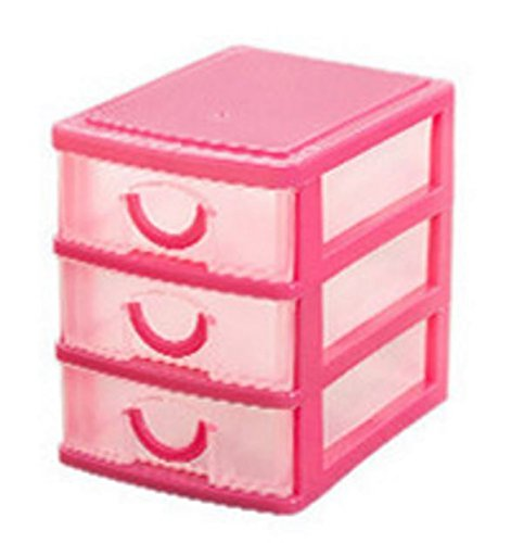 plastic storage box colored Desktop Plastic Storage Box with Three Drawers Jewelry Organizer Holder Cabinets Fit For Office Home plastic storage box drawers (Pink)