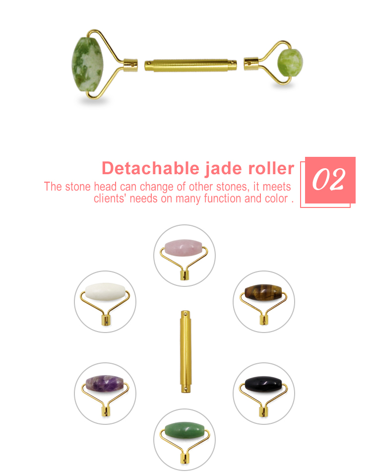 MuShang DIY Custom design natural jade face roller DIY Detachable Green aventurine jade roller for sale