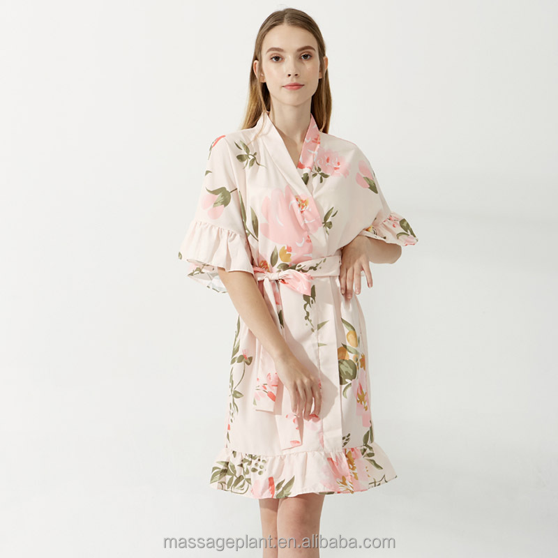 Factory supply short modal cotton printed flower bride robes