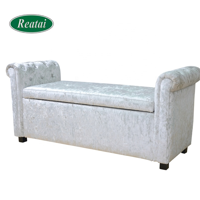 Reatai white ice velvet unfoldable storage bedroom bench with arm for modern life soft bed end bench sofa