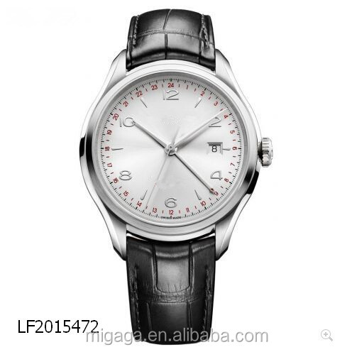 Sun satin polished silver dial Arabic numerals date display dual time zone Automatic mechanical movement watch