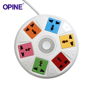 Universal Multifunction Extension Electric Sockets 6 Way 3 Pin Outlets Round Power Strip For Home