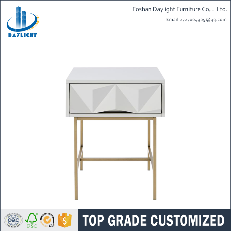 Bedroom White Wooden Gold Bedside Table With 1 Drawer Side Beside Product On Alibaba