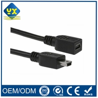 Black MINI USB 5Pin Type B Male to Female Extension Cable