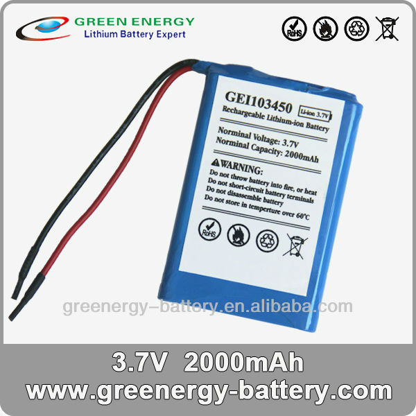 high rate li-ion 3 7v batteries 3.7 battery GEI103450 2000mah