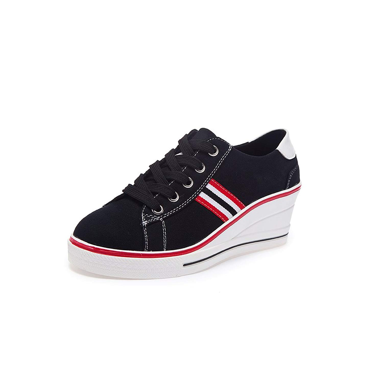 fb2e7aaaa850 Get Quotations · Women s Canvas Shoes Wedge Heeled Platform Sneaker Fashion  Pump Shoes