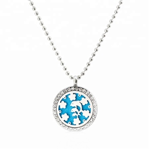Sagittarius Aquarius Dolphin crystal 25mm Perfume Aroma Locket Necklace Stainless Steel Essential Oil Diffuser Locket Pendant