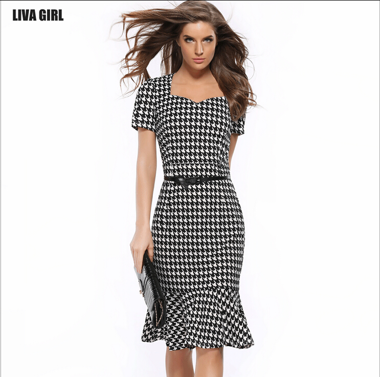 2017 New Fashion Vestido Patchwork Plaid Pencil Bodycon Las Office Wear Summer Work Casual Dresses Women Plus Size Dress